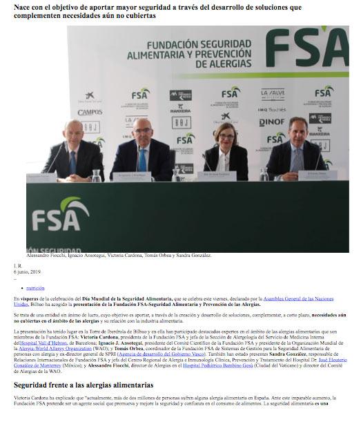 Diario Médico. Nueva fundación para la seguridad alimentaria de los alérgicos