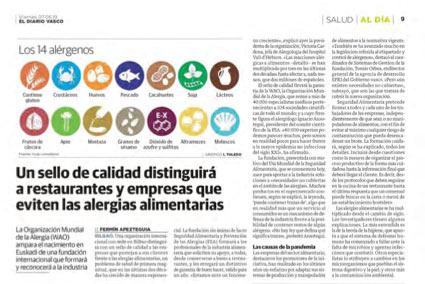 Diario Vasco. Un sello de calidad distinguirá a restaurantes y empresas que eviten las alergias alimentarias
