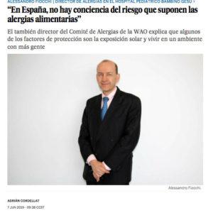 El País - En España, no hay conciencia del riesgo que suponen las alergias alimentarias