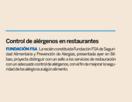 Expansión. Control de alérgenos en restaurantes