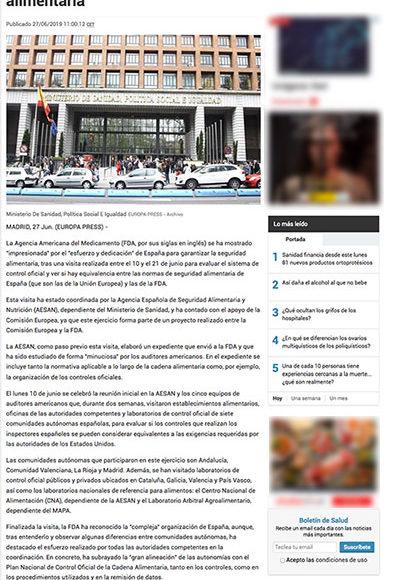 """Infosalus - La Agencia Americana del Medicamento impresionada por el """"esfuerzo y dedicación"""" de España para garantizar la seguridad alimentaria"""